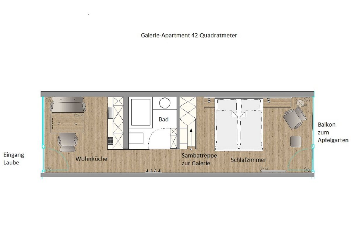 Grundriss Galerie-Apartment 42 qm Boardinghouse Bodensee