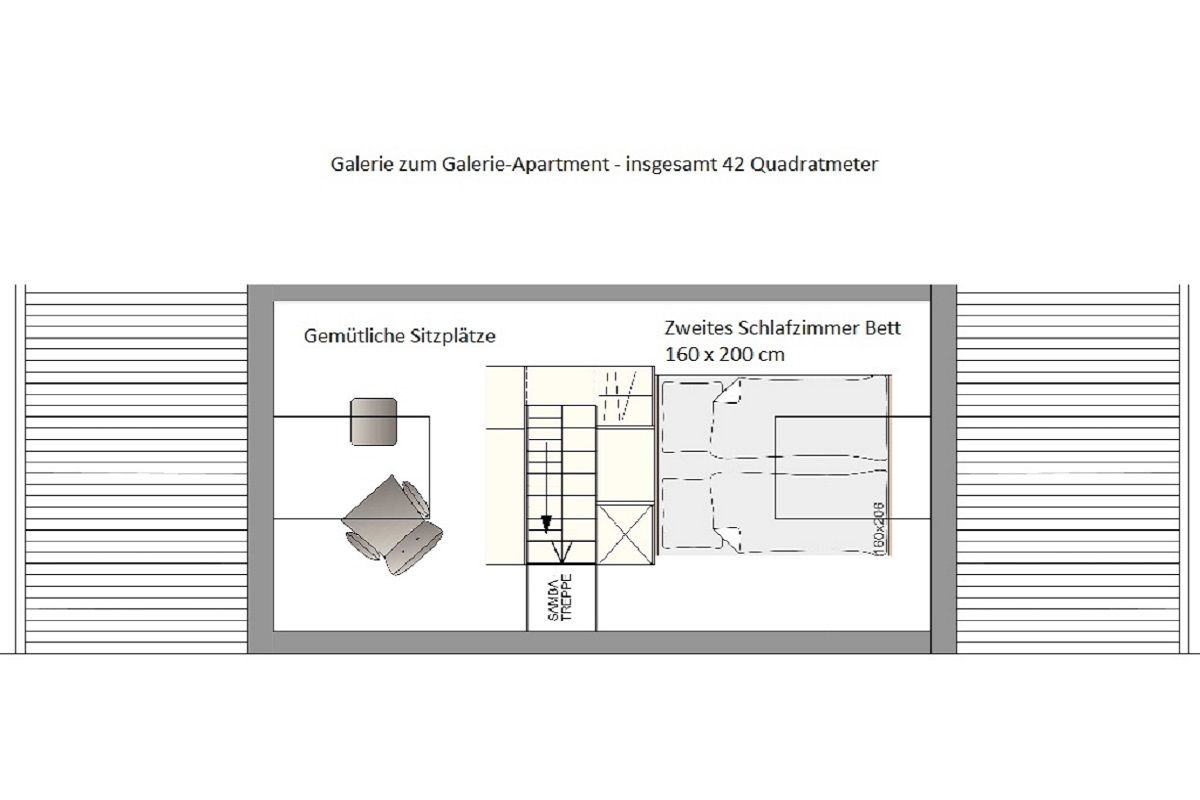 Grundriss Galerie zum Galerie-Apartment Boardinghouse Bodensee